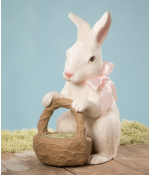 Easter Rabbit With Basket Large Paper Mache