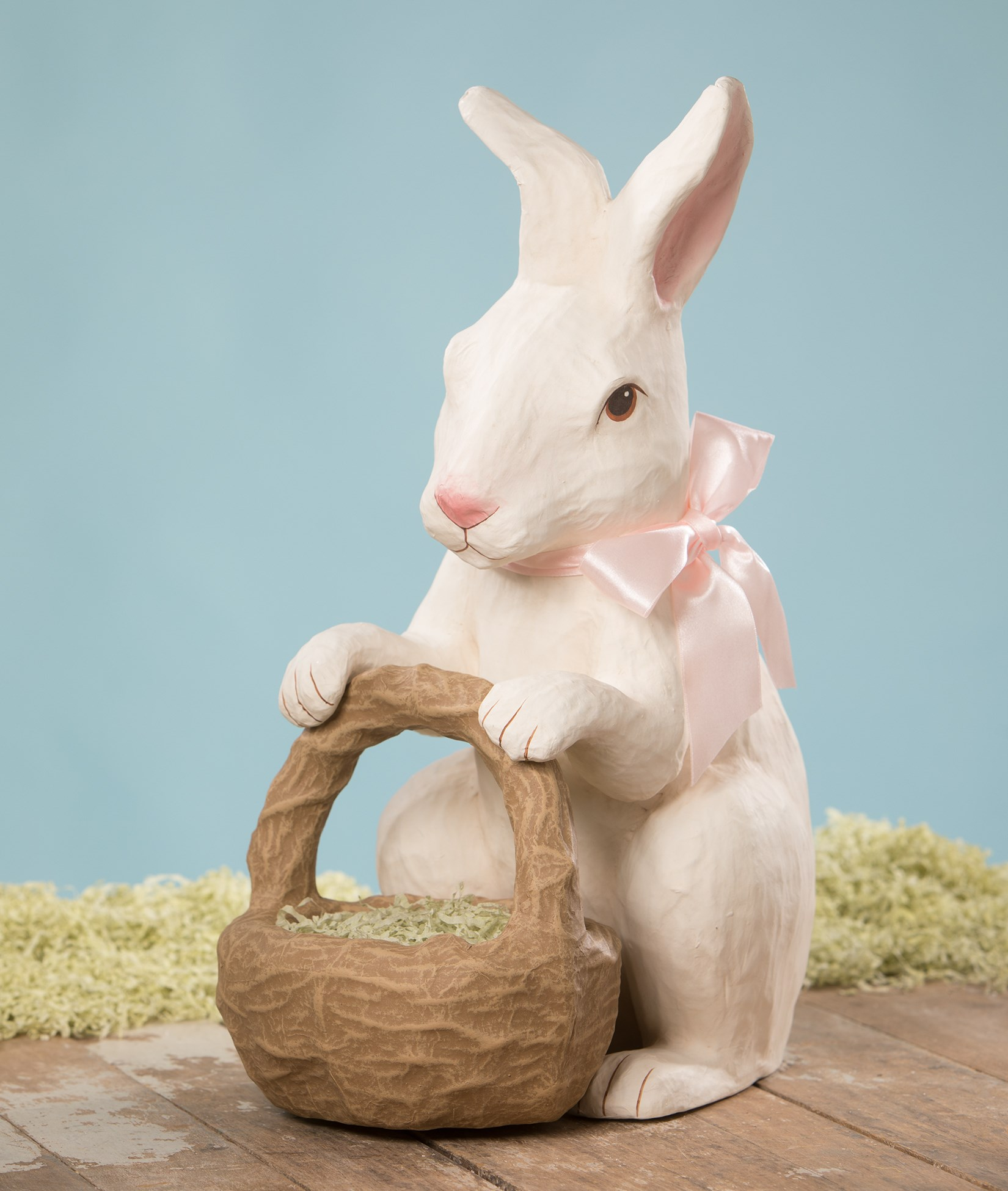 Bethany Lowe Designs Sweet Bunny with Basket Paper Mache