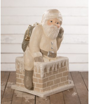 Ivory Santa Down Chimney Large Paper Mache