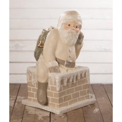 Ivory Santa Down Chimney Large Paper Mache
