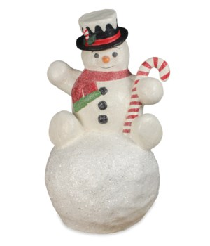 Snowman on Snowball Large Paper Mache