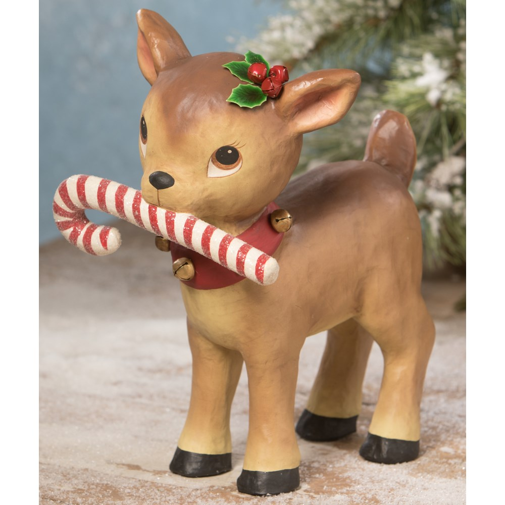 Reindeer With Candy Cane Large Paper Mache