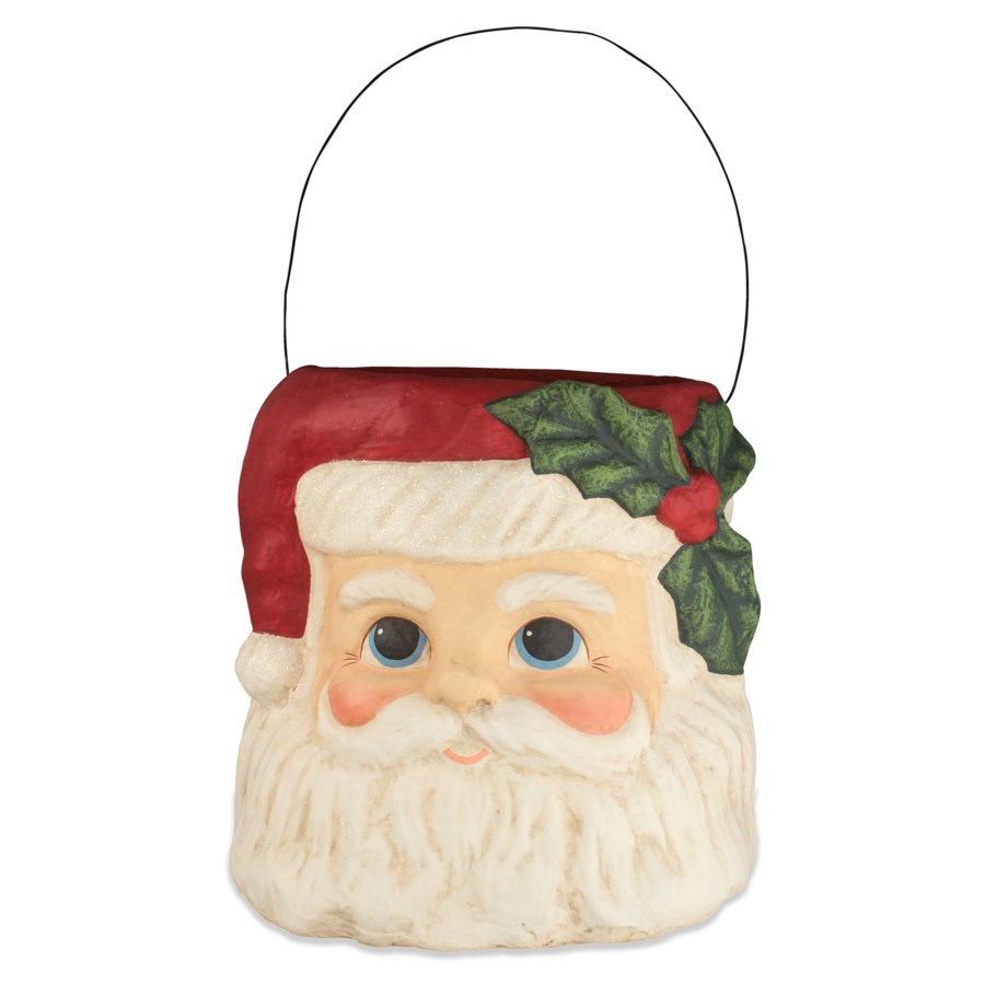 Holly Jolly Santa Paper Mache Bucket Large