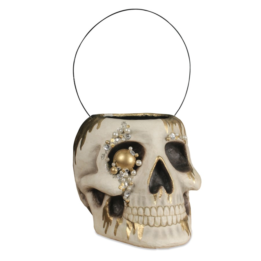 Jeweled Skull Bucket Large Paper Mache