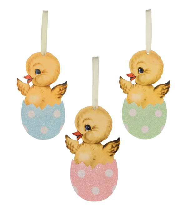 Chick in Egg Pressed Paper Ornament 3A