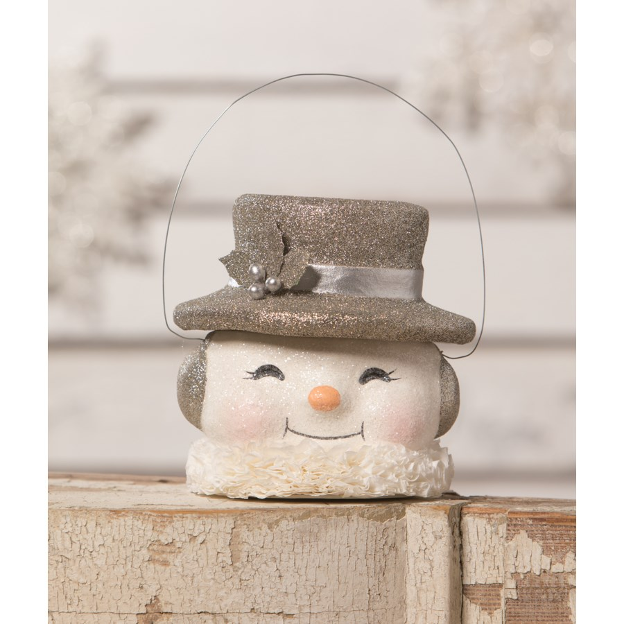 Happy Platinum Snowman Paper Mache Bucket MD