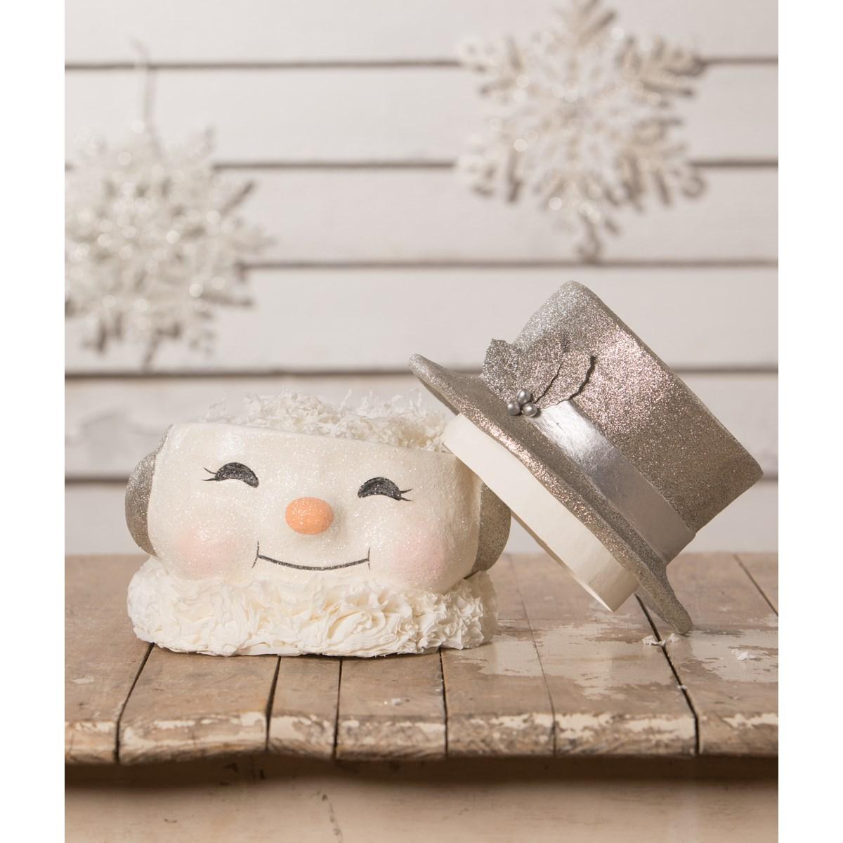 Happy Platinum Snowman Paper Mache Bucket LG