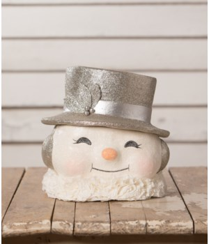 Happy Platinum Snowman Paper Mache Bucket LG