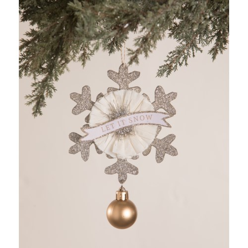 Glittered Snowflake and Bauble Ornament