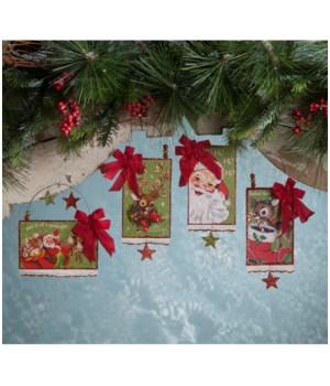 Retro Christmas Postcard Ornament 4A