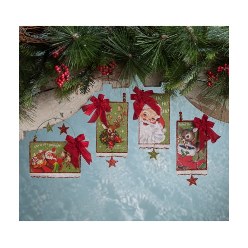 Retro Christmas Postcard Ornament 4A