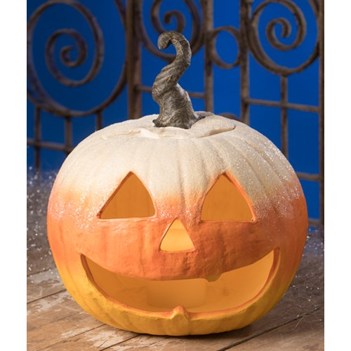 Candy Corn Jack O'lantern Large Paper Mache