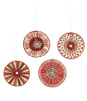 Merry & Bright Rosette Ornament 4A