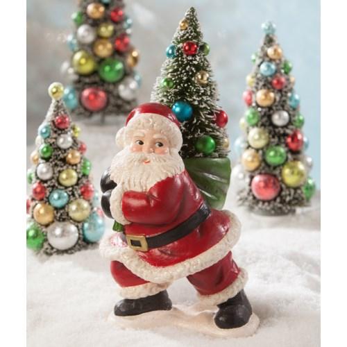 Merry & Bright Santa With Tree