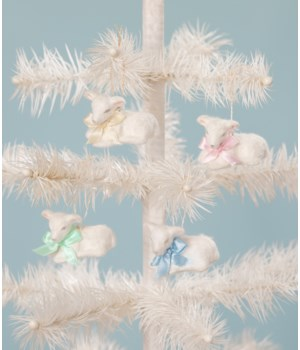 Pastel Fuzzy Lamb Ornament 4/A