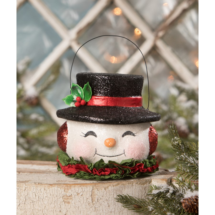 Happy Retro Snowman Bucket Medium
