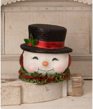 Happy Retro Snowman Bucket Large Paper Mache