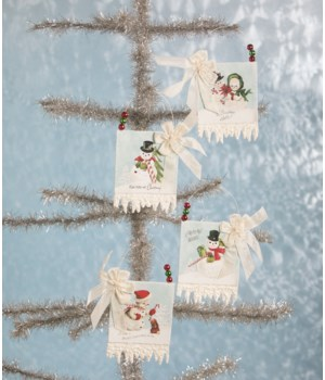 Snowman Postcard Ornament 4A