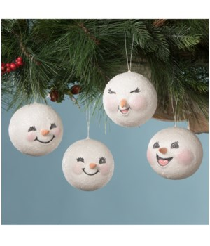 Happy Snowman Head Ornament 4/A