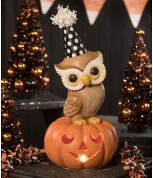 Party Owl On Pumpkin Medium