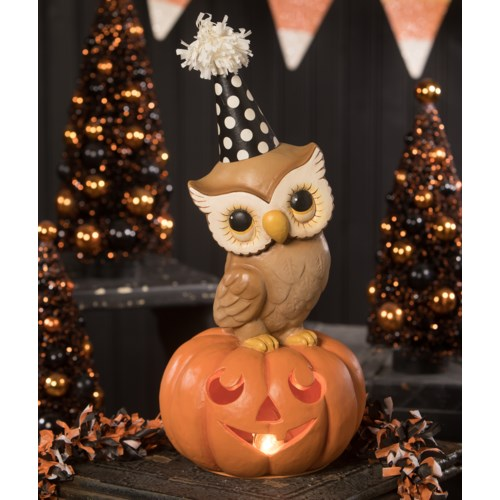 Party Owl On Pumpkin Medium