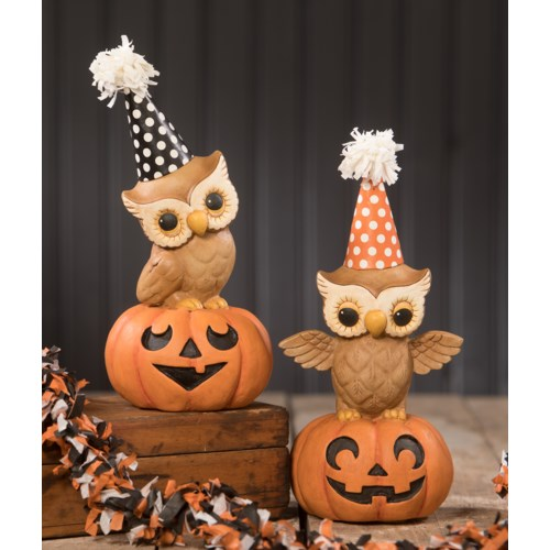 Party Owl On Pumpkin 2/A