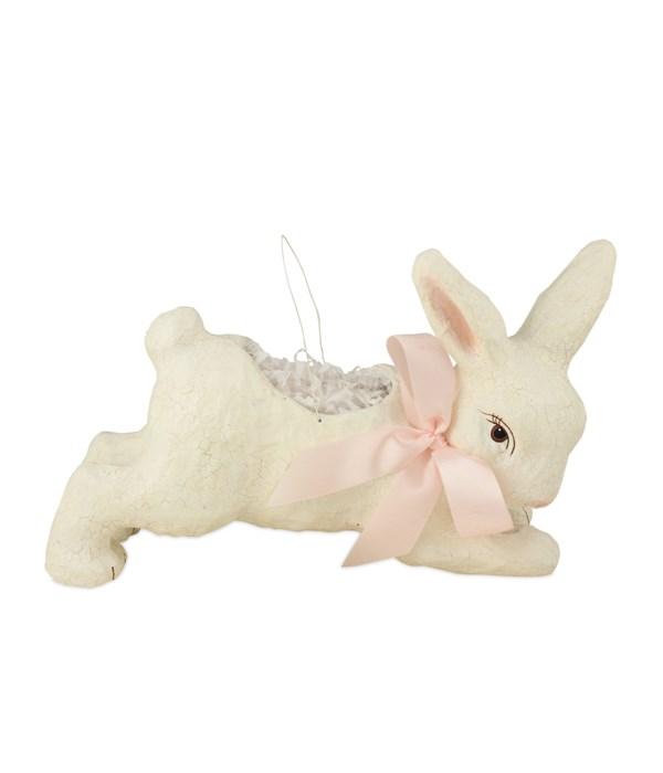 "Ivory Running Bunny Bucket 12"""