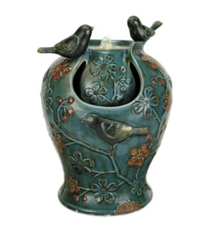 BLUE VERDIGRIS SONGBIRD FOUNTAIN