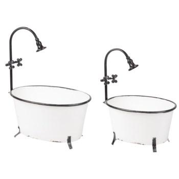 ANTIQUE BATHTUB PLANTERS, SET OF 2