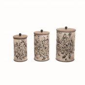SHIBORI FLOWER NESTED CANISTERS, SET OF 3