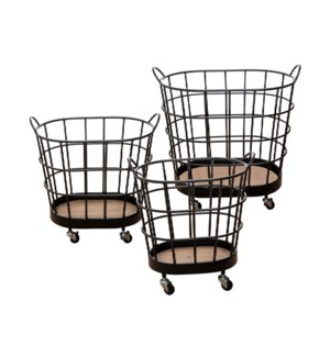 ROLLING WIRE BASKETS ON WHEELS, SET OF 3