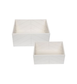 WHITE WOODEN CRATES, SET OF 2