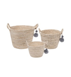 ESCAPE NATURAL BASKETS W/POMS, SET OF 3