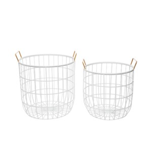 MODERN BRASS WIRE BINS, SET OF 2