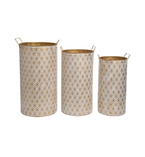 MODERN BRASS BINS, SET OF 3