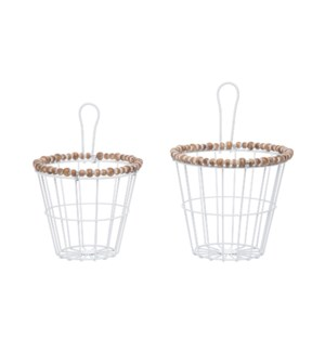 WOOD BEAD WALL BASKETS, SET OF 2