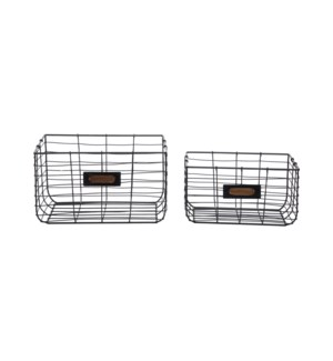 BLACK WIRE BASKETS, SET OF 2
