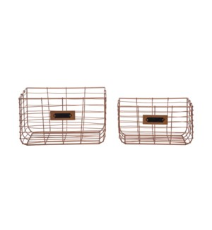 COPPER WIRE BASKETS, SET OF 2