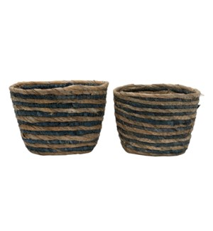 BLUE STRIPE NATURAL BASKETS SMALL, SET OF 2
