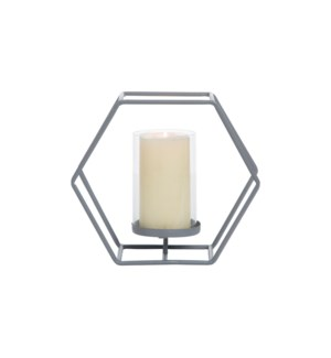 GRAY HONEYCOMB CANDLE HOLDER
