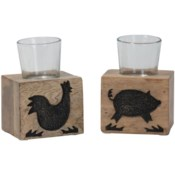 FARM VOTIVE CANDLE HOLDERS, SET OF 2