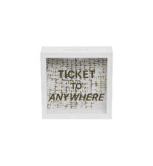 TICKET TO ANYWHERE WOODEN BANK