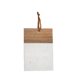 WHITE MARBLE WOOD SQUARE CUTTING BOARD LARGE