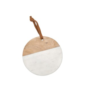 WHITE MARBLE ROUND WOOD CUTTING BOARD