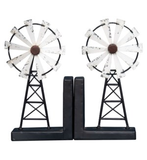 WINDMILL BOOKEND WHITE, SET OF 2