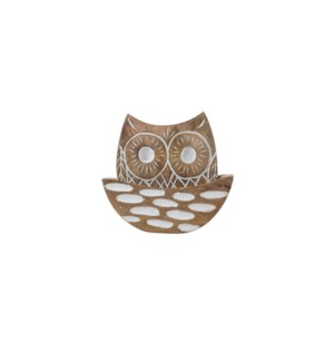 CARVED OWL COASTERS IN HOLDER, SET OF 5 PIECES