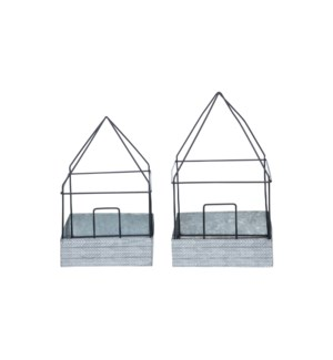 WIRE HOUSE CLOCHES, SET OF 2