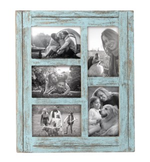 4X6 FIVE PHOTO HEARTLAND FRAME BLUE