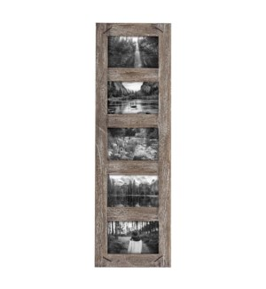 4X6 FIVE PHOTO WEATHERED WOOD FRAME WITH NAIL ACCENTS