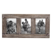 4X6 THREE PHOTO WEATHERED WOOD FRAME WITH NAIL ACCENTS